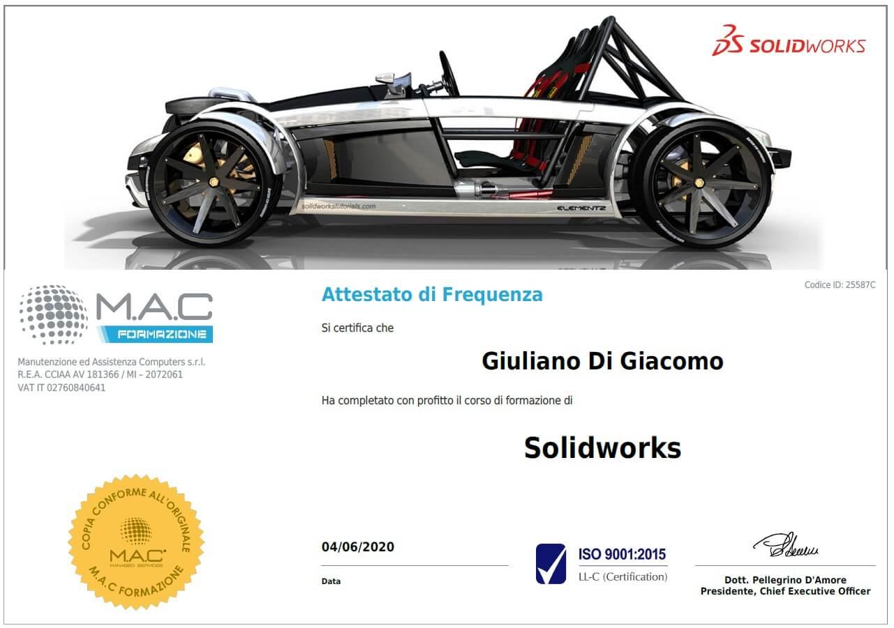 certificato SolidWorks