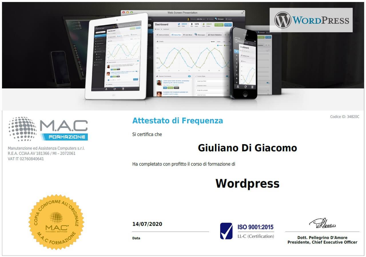 certificato WordPress